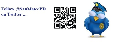 Scan the QR Code with your mobile device to follow @SanMateoPD via Twitter!